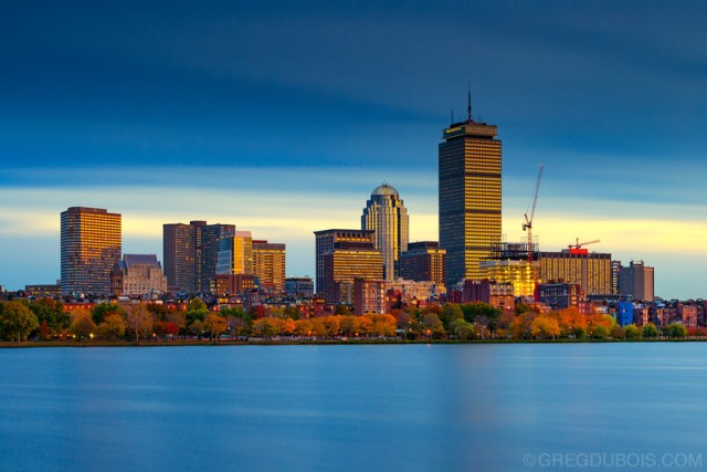 Back Bay Boston Skyline and Charles River Esplanade with Fall Co