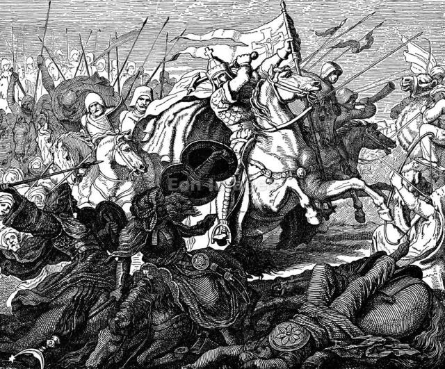 """19th-century illustration, """"Charles Martel in the Battle of Poitiers,"""" after a painting by Plueddemann. Frank Charles Martel fights the Moors at the Battle of Tours, also known as the Battle of Poitiers, in A.D. 732, a significant victory in slowing the Moorish incursion into Gaul."""