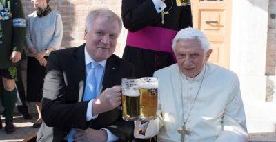 Benedict XVI drinking beer
