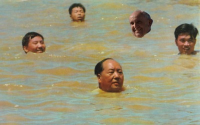 Pope and Mao swimming