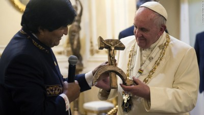 Pope and hammer/sickle