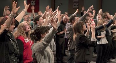 hand waving in church