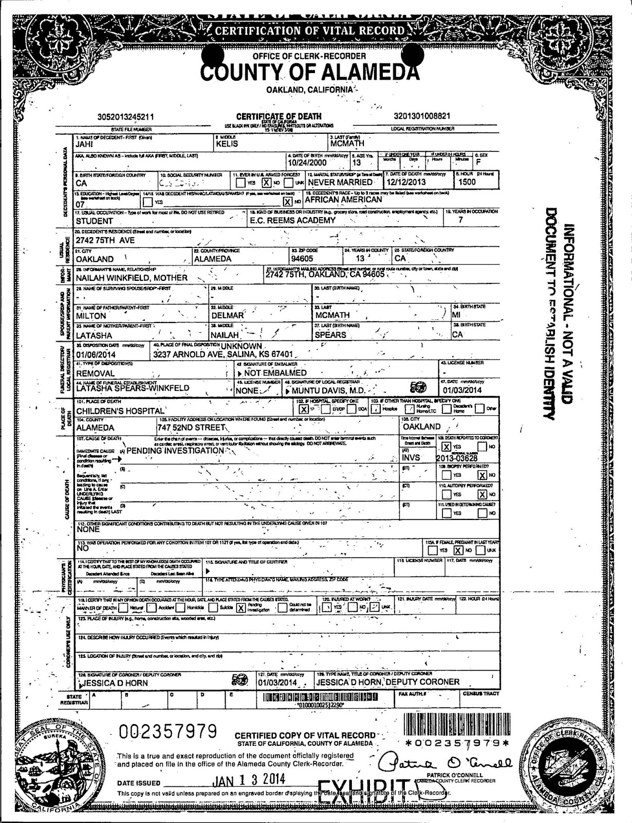 The California Certification Of The Total Death Of Jahi Mcmath Will